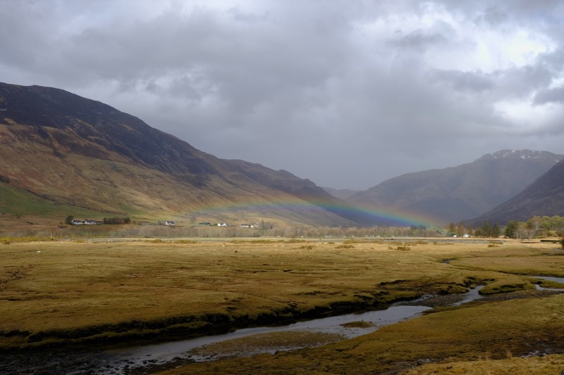 A magnificent rainbow across the valley towards Glen Affric