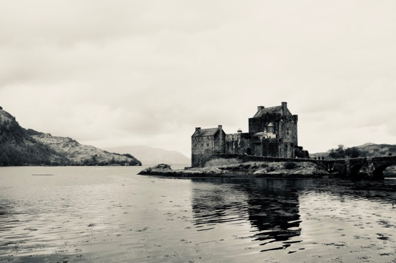 Eilean Donan Castle under cloudy skies