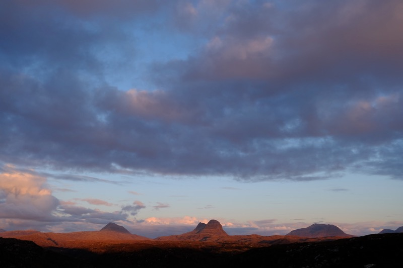 Canisp, Suilven and Cul Mor at sunset